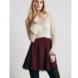 Free People V for Victorian lace cream dress